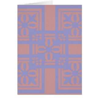 Mauve blue squares greeting card