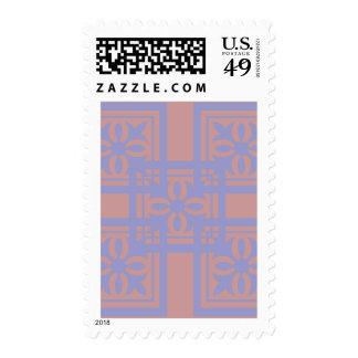 Mauve blue squares postage stamp
