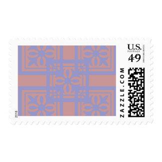 Mauve blue squares postage