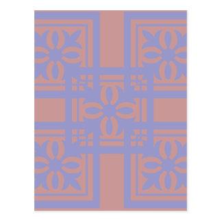 Mauve blue squares postcard