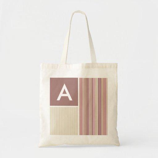 Mauve, Brown, & Green Stripes; Striped Tote Bags