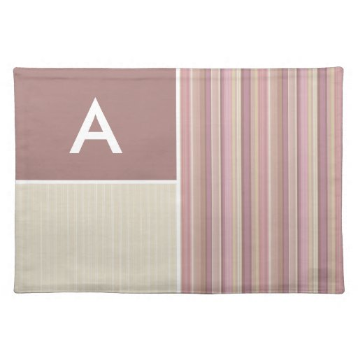 Mauve, Brown, & Green Stripes; Striped Cloth Place Mat