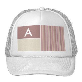 Mauve, Brown, & Green Stripes; Striped Trucker Hats
