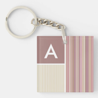 Mauve, Brown, & Green Stripes; Striped Square Acrylic Key Chain