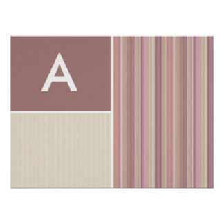 Mauve, Brown, & Green Stripes; Striped Posters
