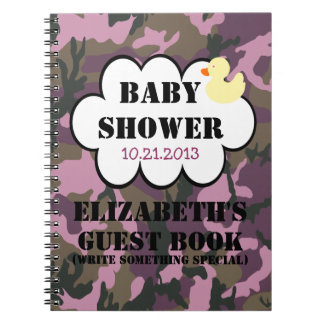 Mauve Camouflage Shower Guestbook Notebook
