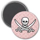 Mauve Circles Jolly Roger Magnet
