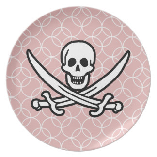 Mauve Circles Jolly Roger Party Plate