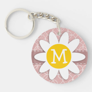 Mauve Circles; Spring Daisy Keychain