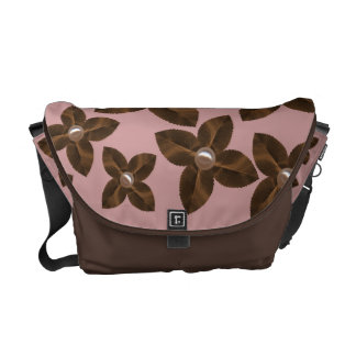 Mauve & Coffee Flowers Rickshaw Messenger Bag