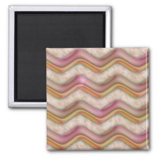 Mauve, Coral and Gold Zig Zags 2 Inch Square Magnet