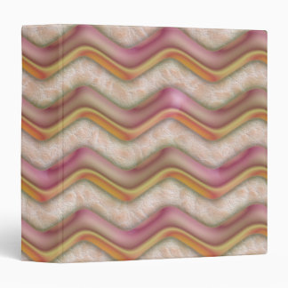 Mauve, Coral and Gold Zig Zags 3 Ring Binder