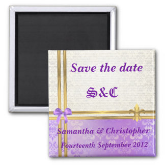 Mauve damask and gold ribbon save the date magnet