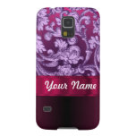 Mauve damask floral pattern on magenta galaxy s5 cover