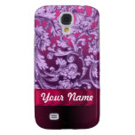 Mauve damask floral pattern on magenta galaxy s4 cover