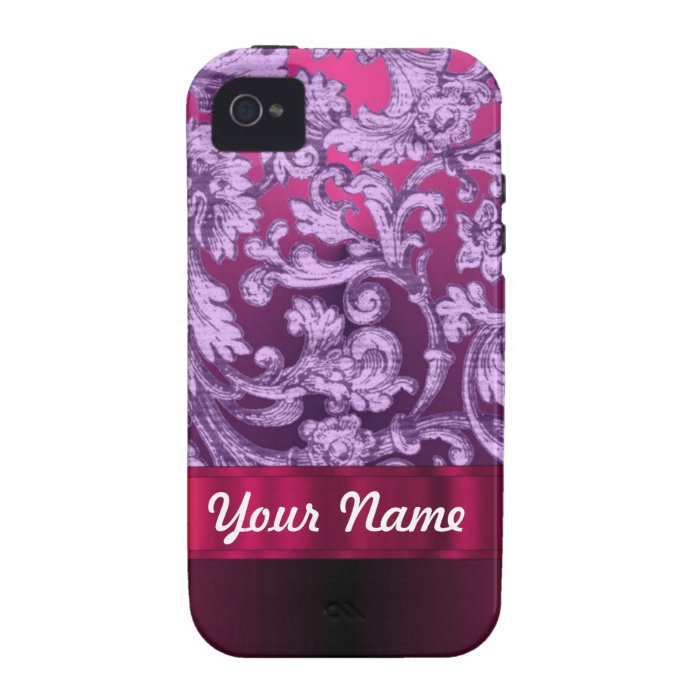 Mauve damask floral pattern on magenta Case-Mate iPhone 4 cover