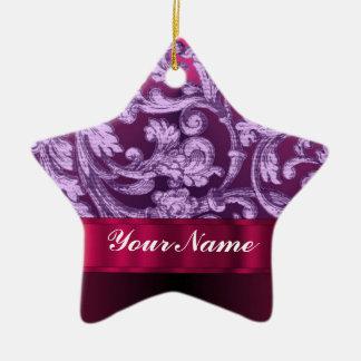 Mauve damask floral pattern on magenta ceramic ornament