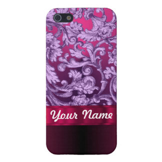 Mauve damask floral pattern on magenta cover for iPhone SE/5/5s