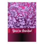 Mauve damask floral pattern on magenta 5x7 paper invitation card