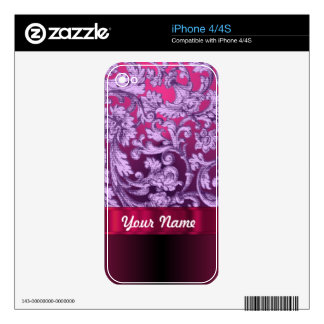 Mauve damask floral pattern on magenta iPhone 4S decals