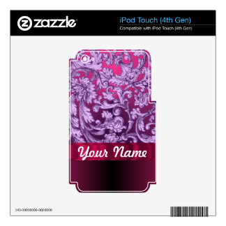 Mauve damask floral pattern on magenta iPod touch 4G decal