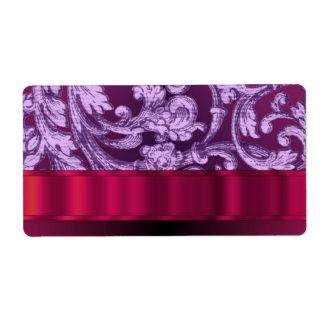 Mauve damask floral pattern on magenta label
