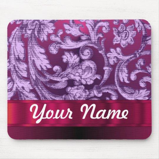 Mauve damask floral pattern on magenta mouse pad