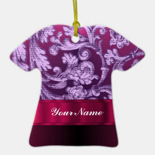 Mauve damask floral pattern on magenta Double-Sided T-Shirt ceramic christmas ornament