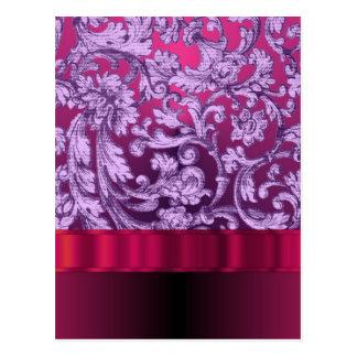 Mauve damask floral pattern on magenta postcard