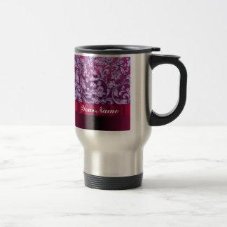 Mauve damask floral pattern on magenta travel mug