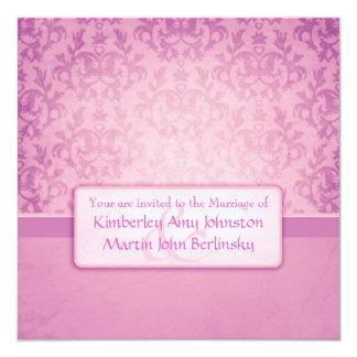 """Mauve damask formal wedding square invitation 5.25"""" square invitation card"""