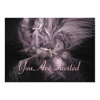Mauve Feather Fractal 5x7 Paper Invitation Card
