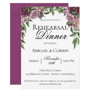 Mauve Floral Rehearsal Dinner Invitation