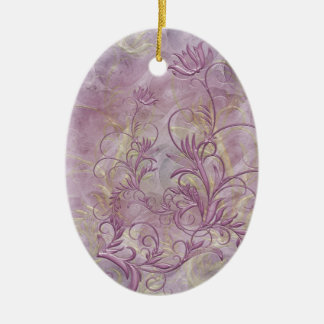 Mauve Floral Swirl Embossed Effect Oval Ornament