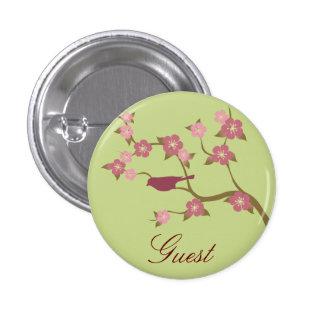 Mauve Flower Bird Custom Event Button Green