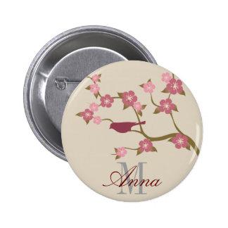 Mauve Flower Bird Custom Name Button Gray