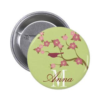 Mauve Flower Bird Custom Name Button Green