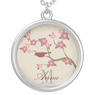 Mauve Flower Bird Custom Name Necklace Keepsake