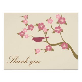 Mauve Flower Bird Flat Thank You Card Gray