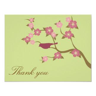 Mauve Flower Bird Flat Thank You Card Green