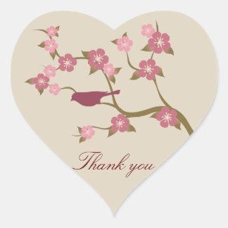 Mauve Flower Bird Thank You Heart Sticker Gray