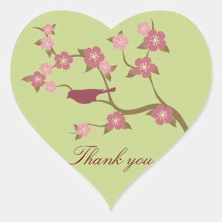 Mauve Flower Bird Thank You Heart Sticker Green