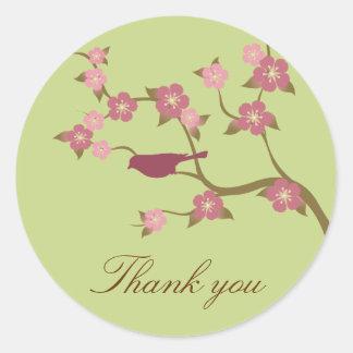 Mauve Flower Bird Thank You Sticker Green