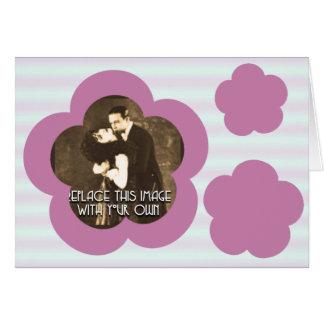 Mauve Flowers & Stripes Card