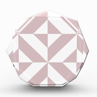 Mauve Geometric Deco Cube Pattern Acrylic Award
