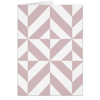 Mauve Geometric Deco Cube Pattern Greeting Card