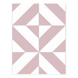 Mauve Geometric Deco Cube Pattern Postcard