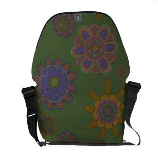 Mauve & Gold Flowers Courier Bag