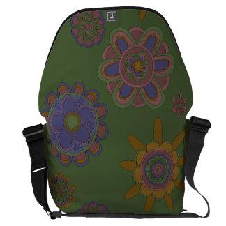 Mauve & Gold Flowers Messenger Bag