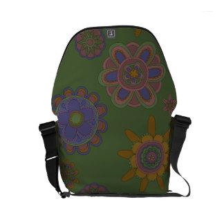 Mauve & Gold Flowers Small Messenger Bag